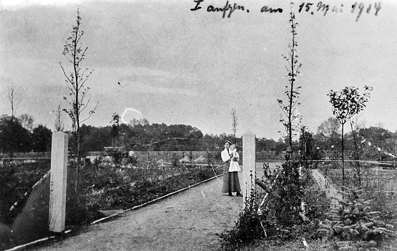 Bau des Eingangs zum Botanischen Garten 1914