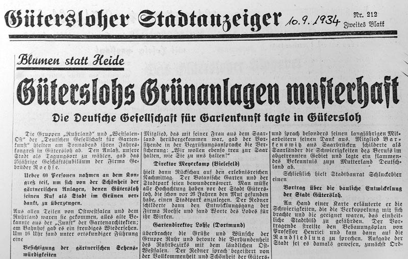 Gütersloher Grünanlagen 1934
