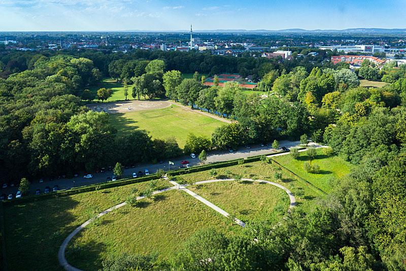 Ziele Förderkreis Stadtpark Gütersloh - Pferdekoppel von oben